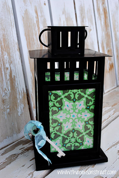 Upcycled Lantern with Glitter Key at www.thebensonstreet.com