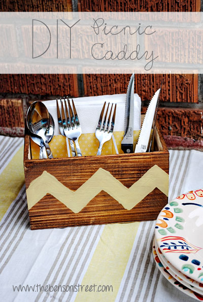 DIY Picnic Caddy at www.thebensonstreet.com