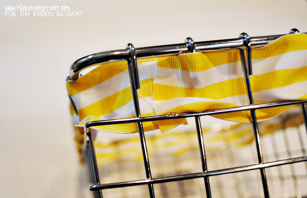 Easy wire basket redo with ribbon