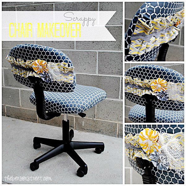Scrappy Office Chair Makeover at thebensonstreet.com