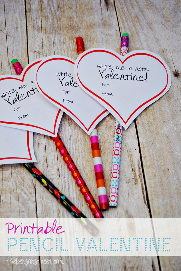 free printable valentine for pencils at thebensonstreetcom