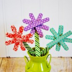 Spring Washi Tape Popsicle Stick Flowers