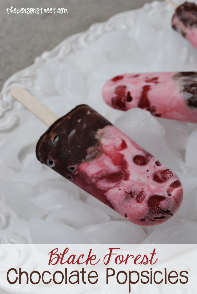 Black Forest Cherry Chocolate Popsicles at thebensonstreet.com