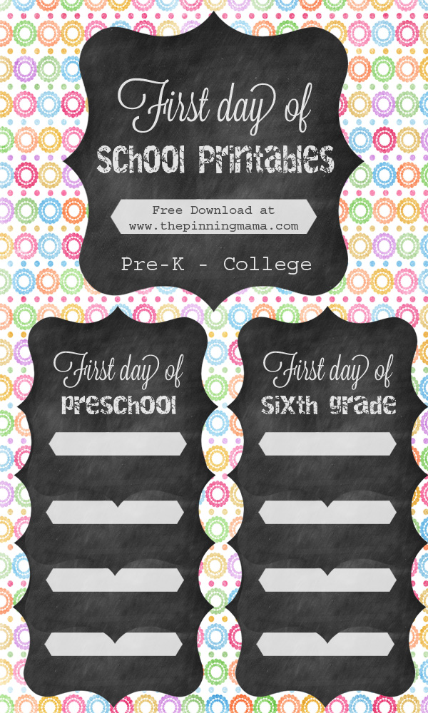 This is a picture of Current First Day of School Free Printable