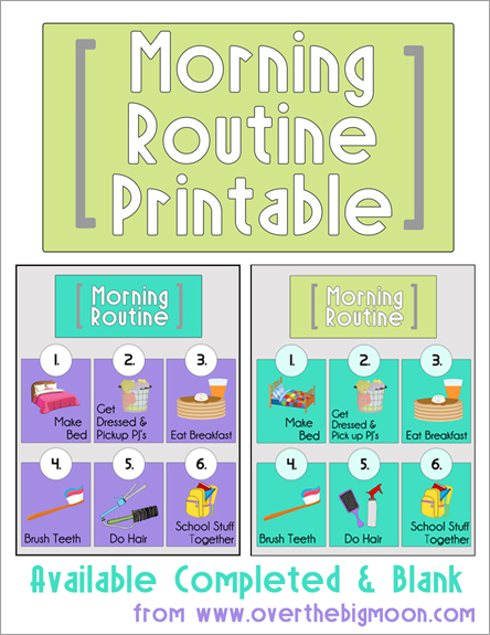Morning Routine Printable Back To School Series The Benson Street