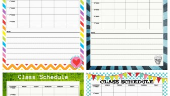 junior high class schedule printable  collage