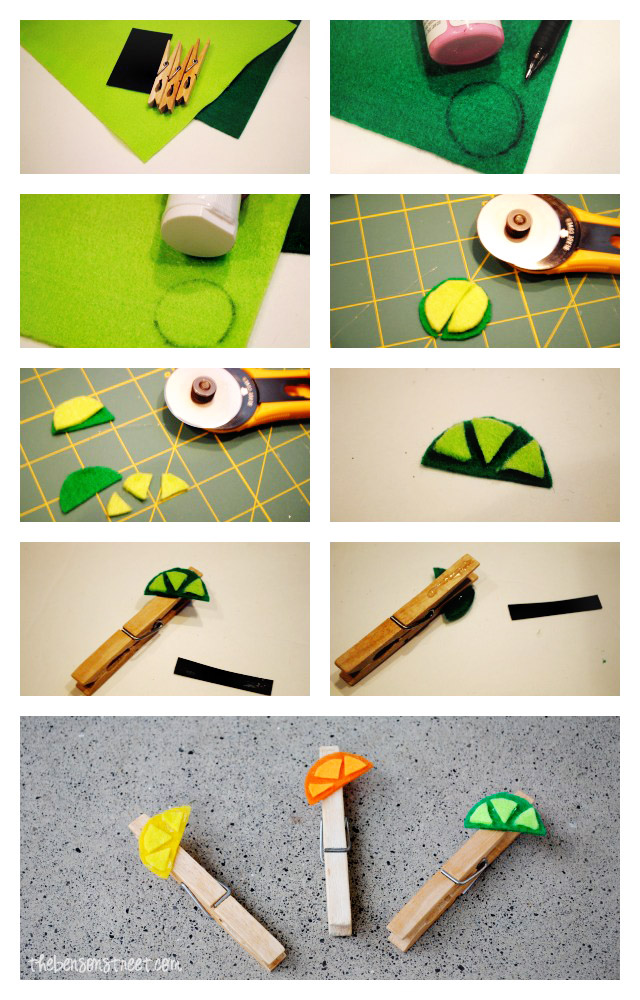Citrus Magnet Clips Tutorial at thebensonstreet.com