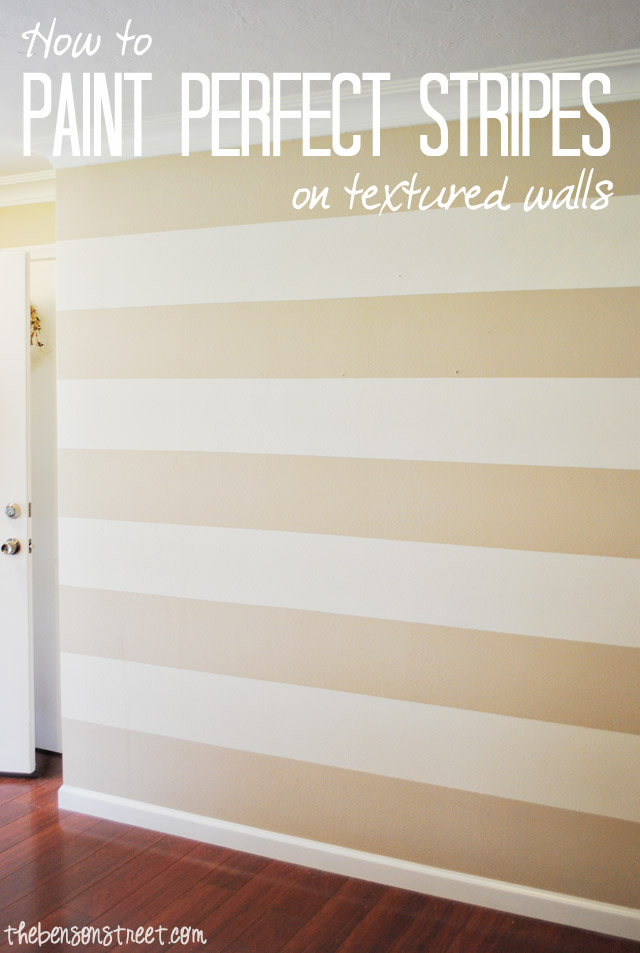 how to paint perfect stripes on a textured wall the benson street. Black Bedroom Furniture Sets. Home Design Ideas