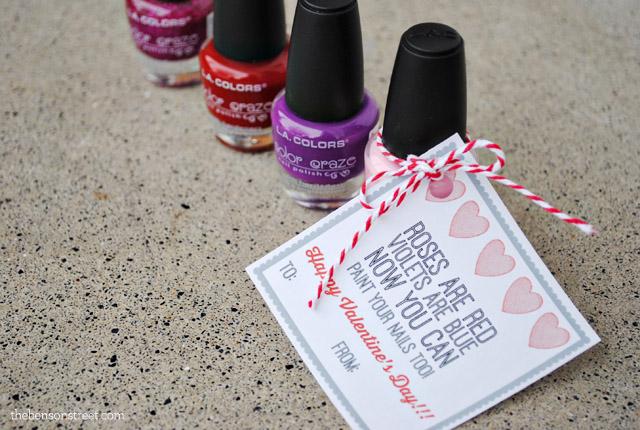 nail polish valentine gift tag the benson street