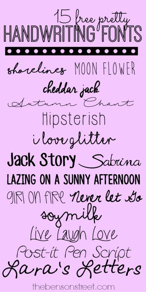 15 Free Pretty Handwriting Fonts