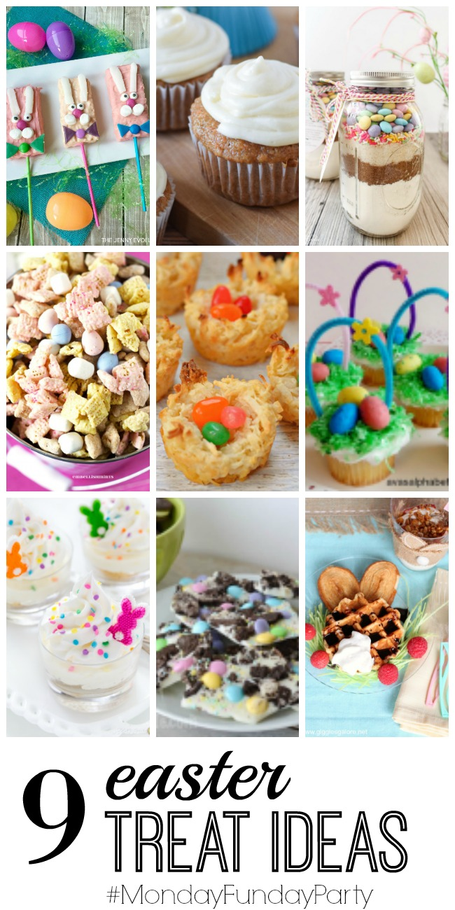 9 easter treat ideas monday funday party wait til your father easter muddy buddies coconut birds nest cookies easter basket cupcakes mini no bake lemon mousse cheesecakes easter oreo bark easter bunny waffles negle Gallery